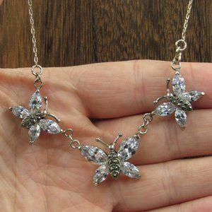 """Vintage 18"""" Sterling CZ Diamond Butterfly Necklace"""